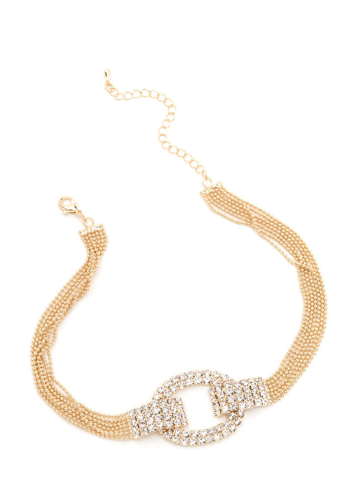 Amp Up The Glitz Cut-Out Charm Choker GOLD