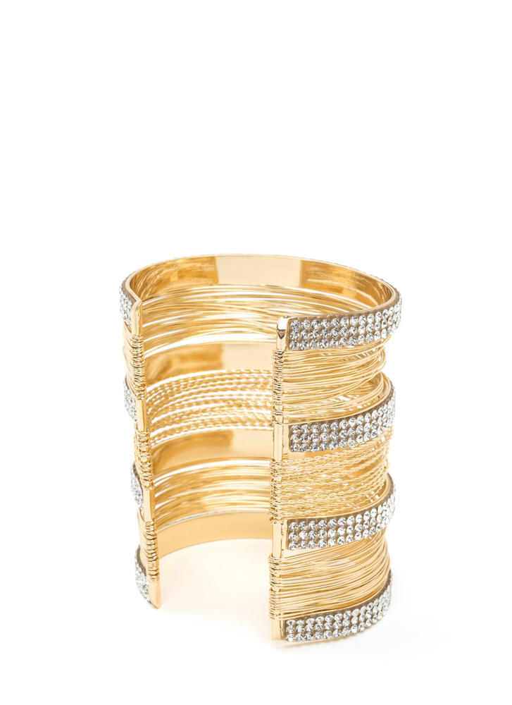 Feeling Wired Stacked Rhinestone Cuff GOLD
