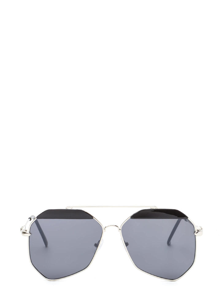 Fresh New Angle Colorblock Sunglasses BLACKSILVER