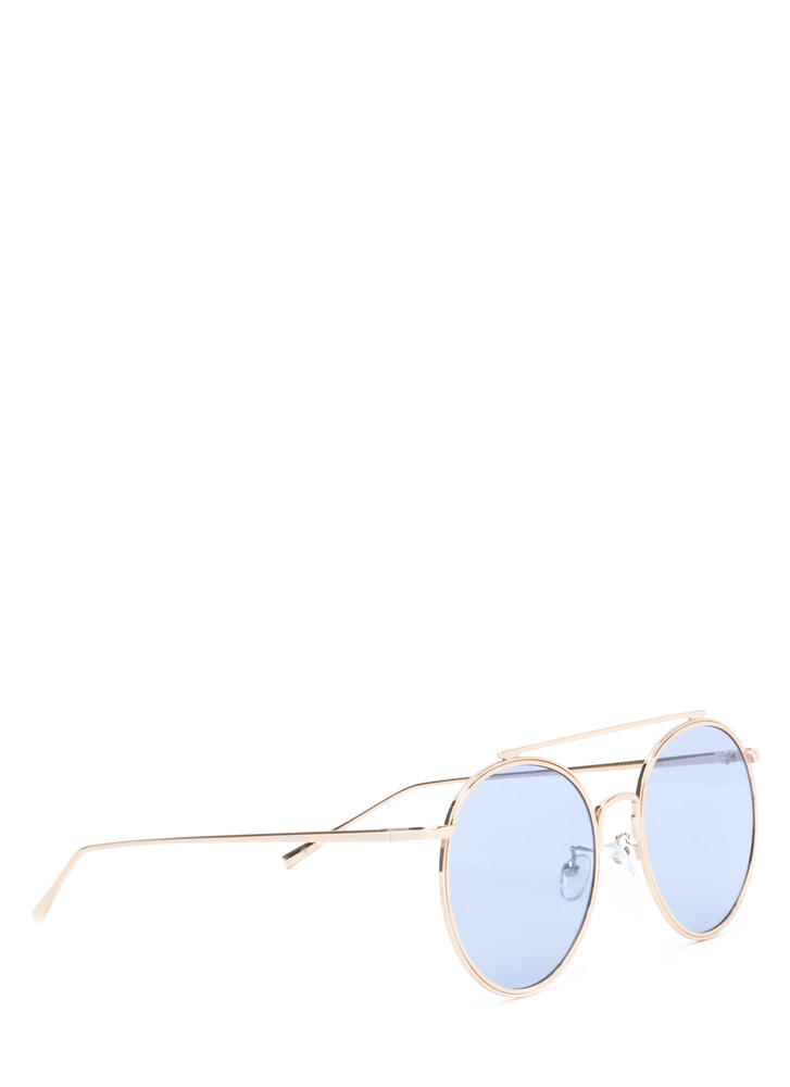 70s Vibes Round Brow Bar Sunglasses BLUEGOLD