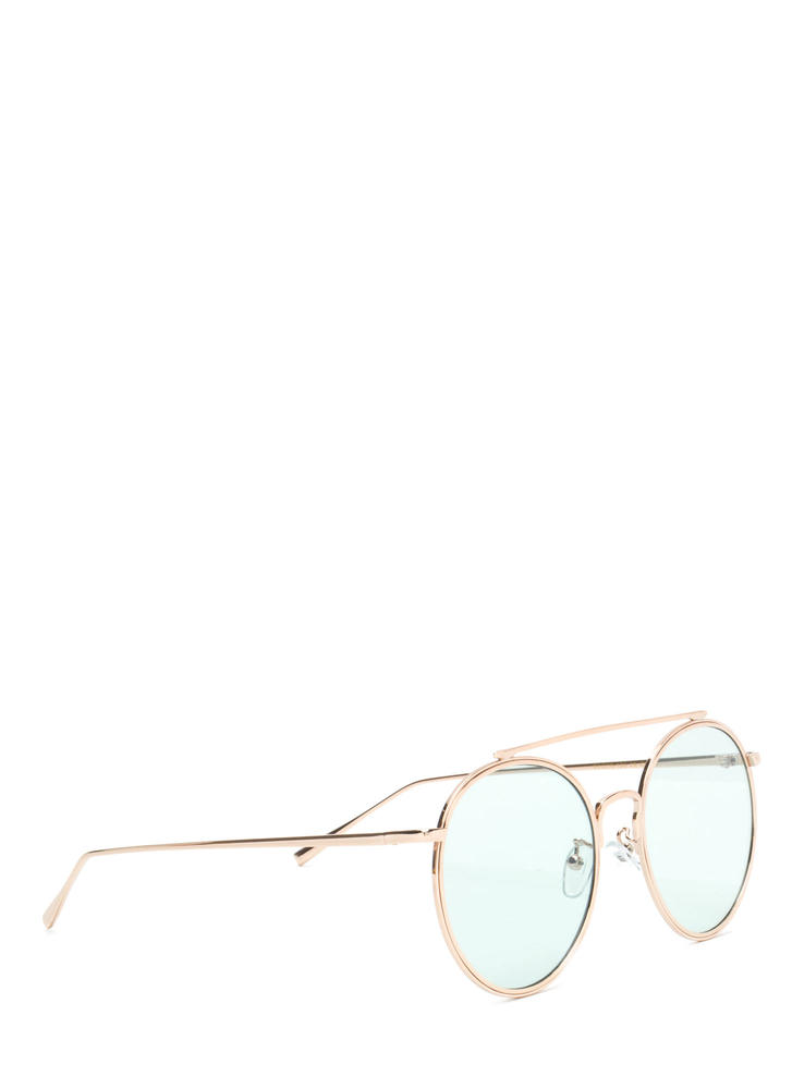 70s Vibes Round Brow Bar Sunglasses GREENGOLD