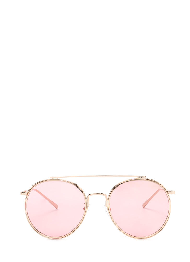 70s Vibes Round Brow Bar Sunglasses PINKGOLD