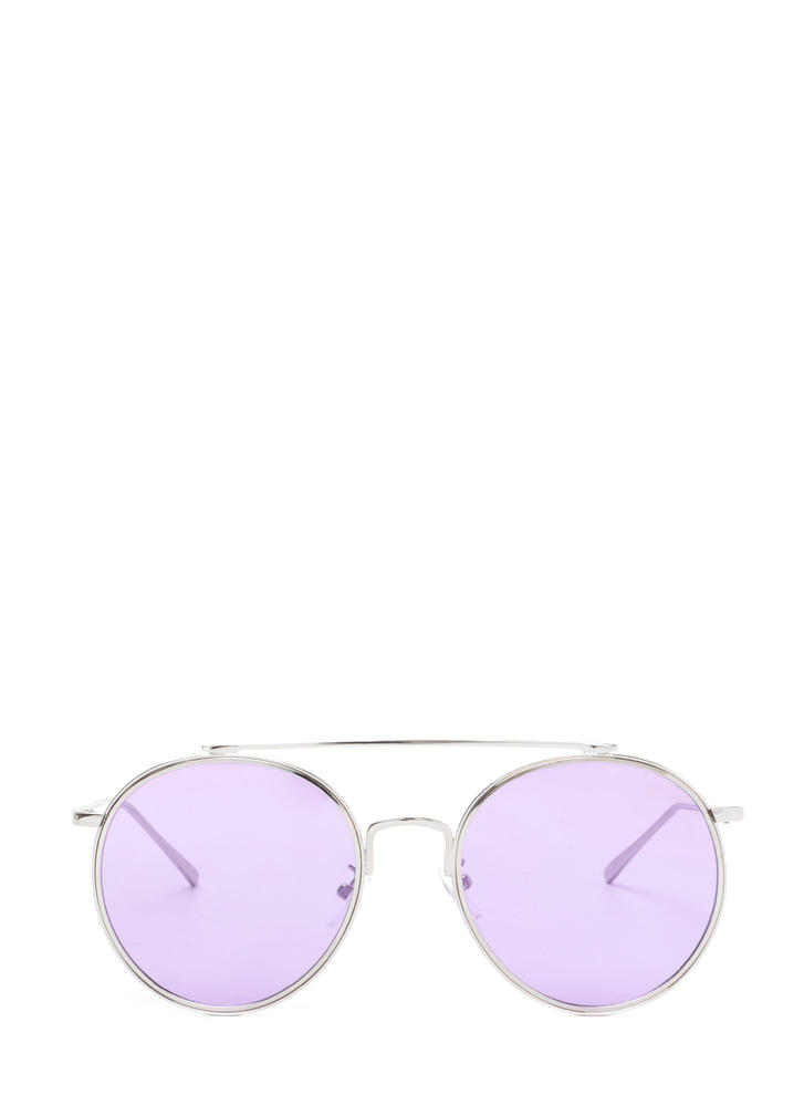 70s Vibes Round Brow Bar Sunglasses PURPLESLVR