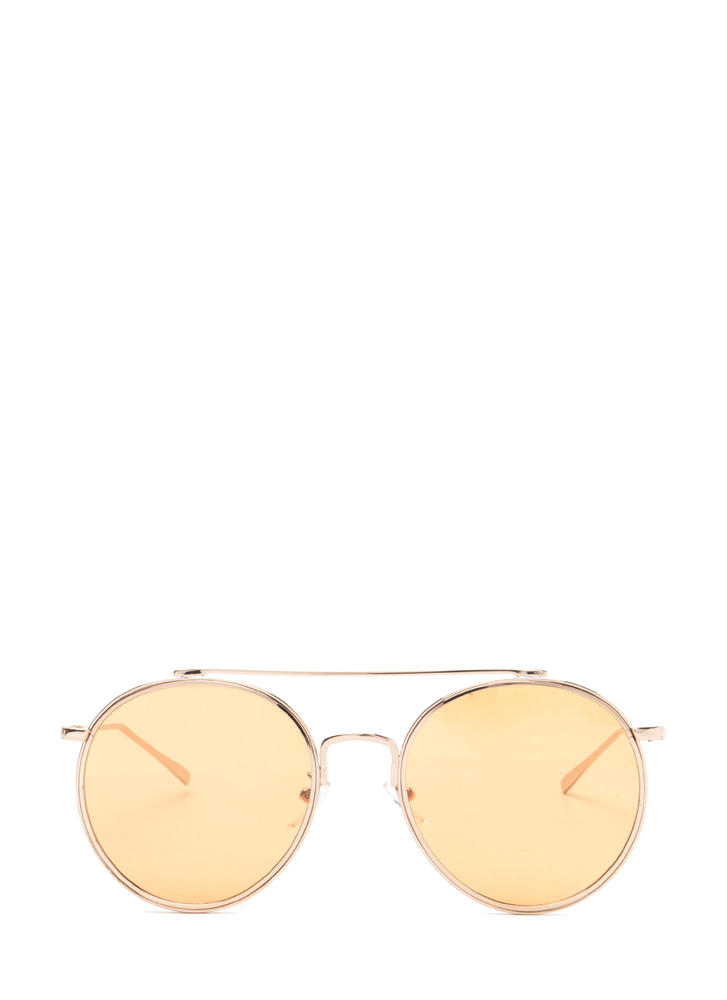 70s Vibes Round Brow Bar Sunglasses YELLOWGOLD