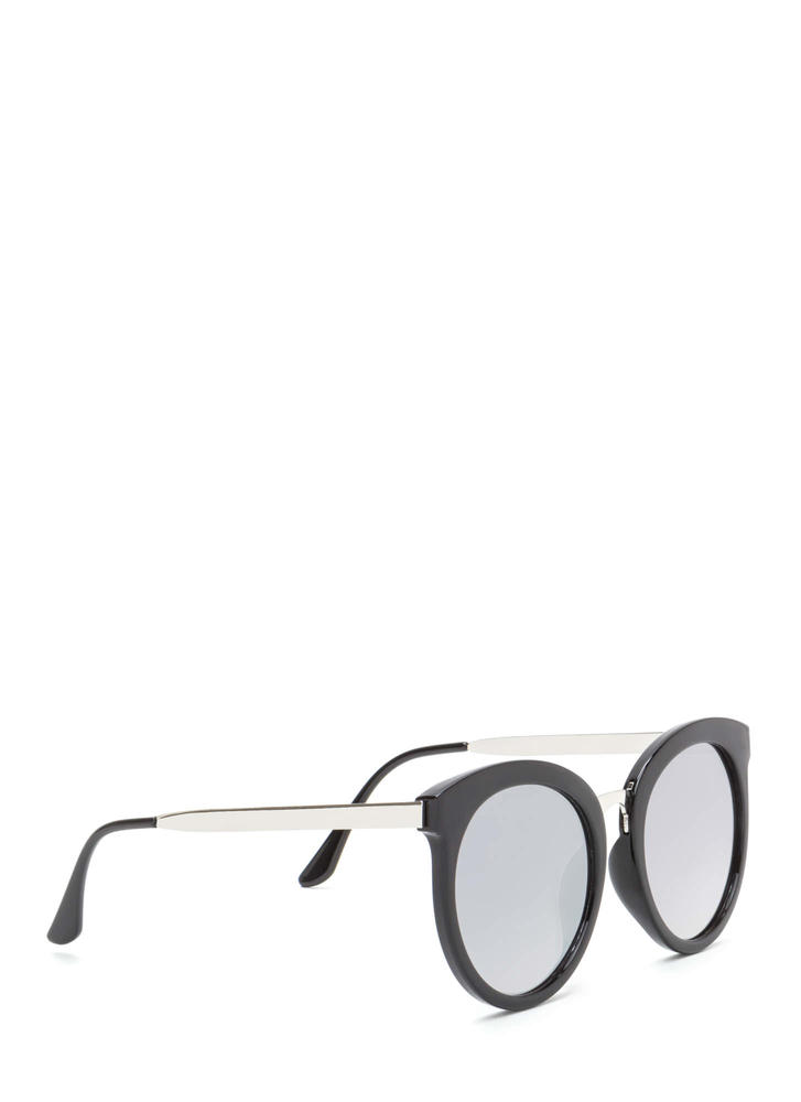 Major Style Rounded Sunglasses SILVERBLACK
