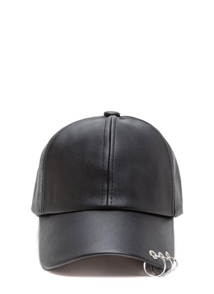 Ring Leader Faux Leather Moto Cap