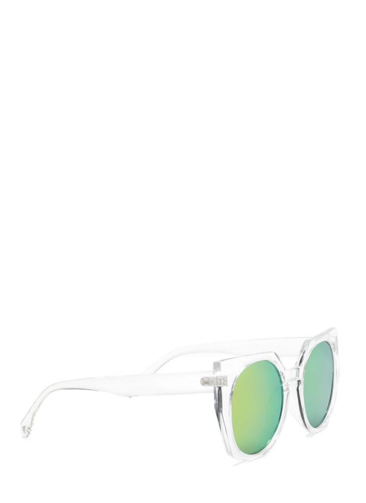 Miami Beach Clear Rounded Sunglasses CLEARMULTI