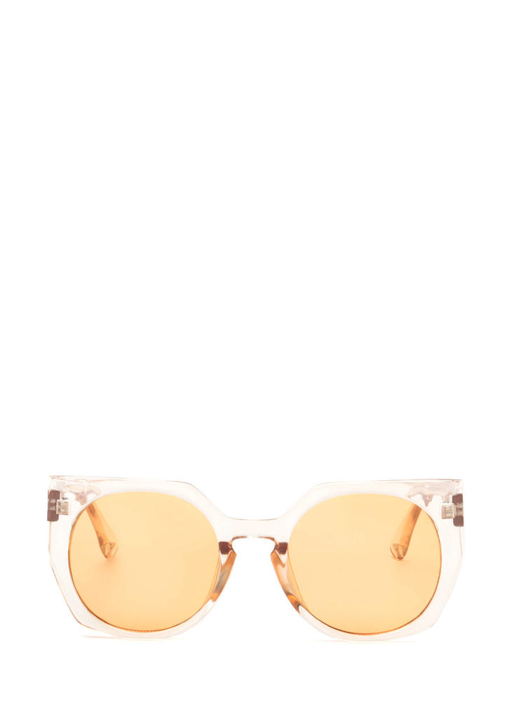 Miami Beach Clear Rounded Sunglasses