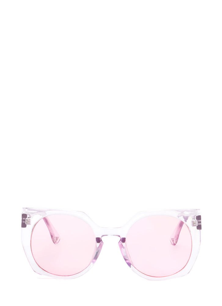 Miami Beach Clear Rounded Sunglasses PINK
