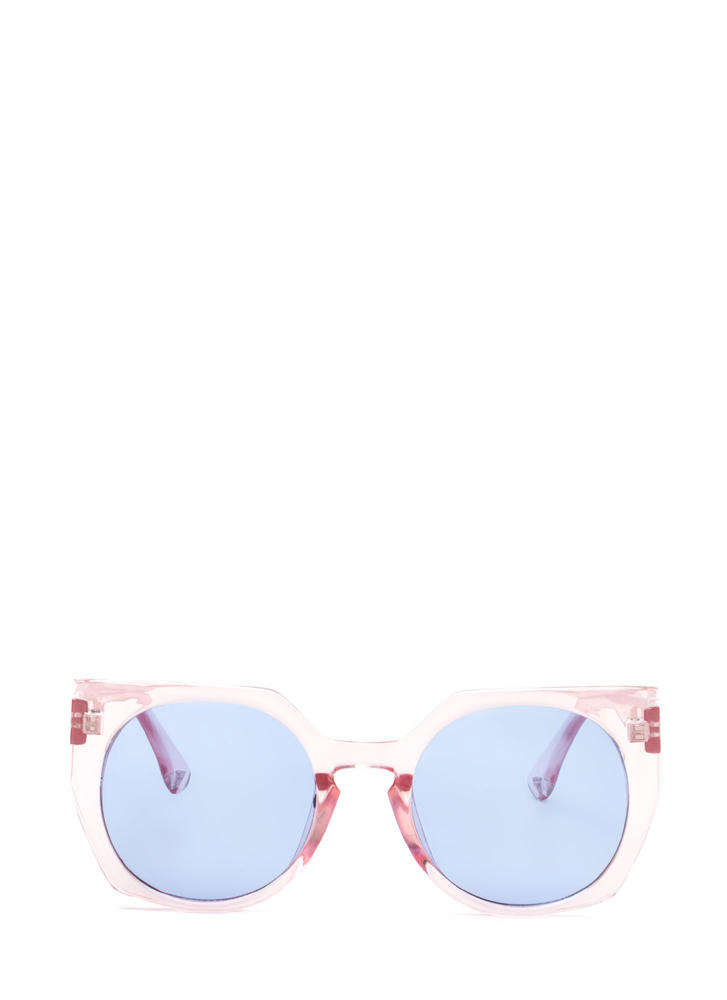Miami Beach Clear Rounded Sunglasses PINKBLUE