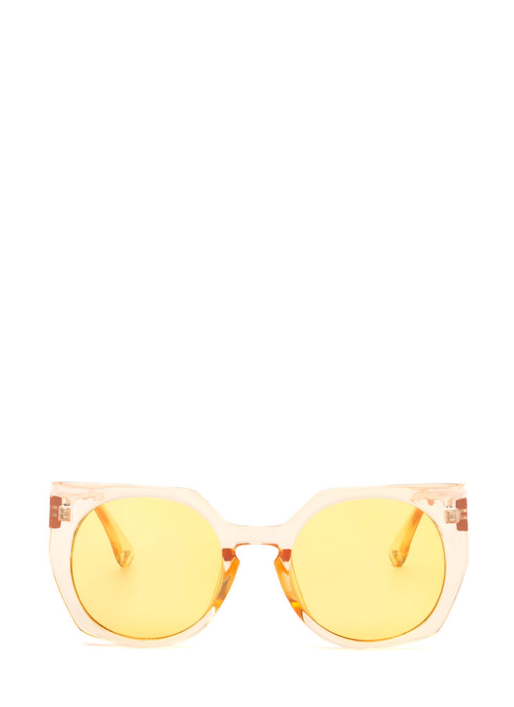 Miami Beach Clear Rounded Sunglasses YELLOW