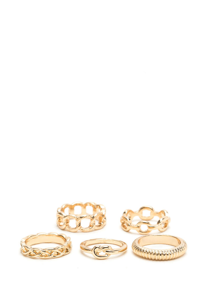 Chain-tastic Textured Five-Ring Set