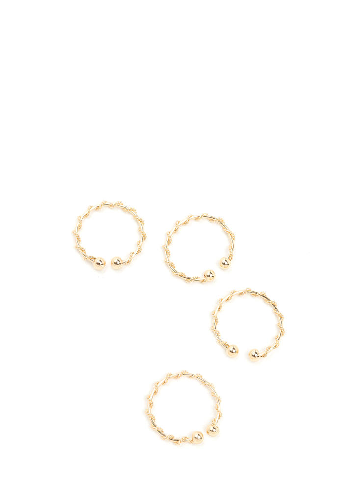 Fancy Fingers Coiled Ring Set GOLD