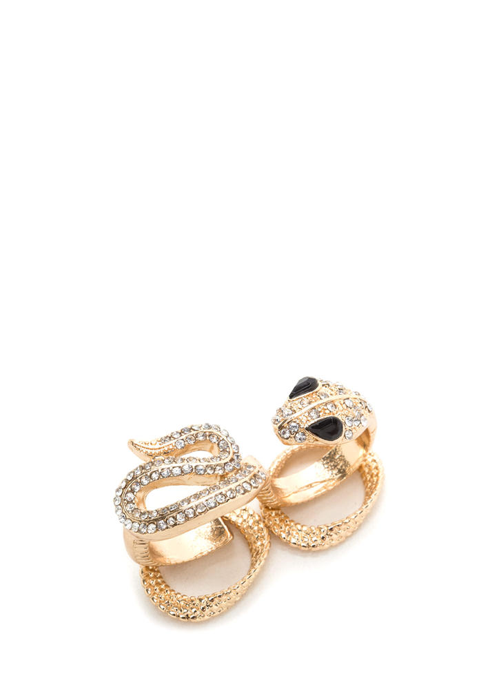Snake It Up A Notch Jeweled Ring Set
