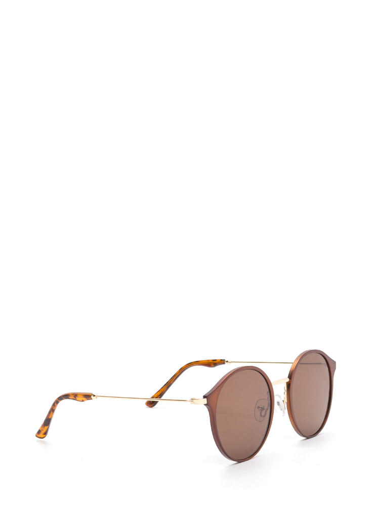 So Sleek 'N Chic Round Sunglasses BROWN