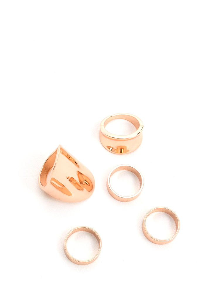 Sculpted Art Shiny Ring Set ROSEGOLD