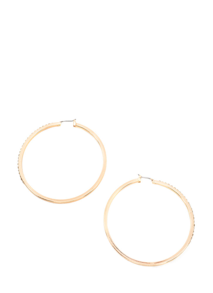Glisten Here Rhinestone Hoop Earrings GOLD