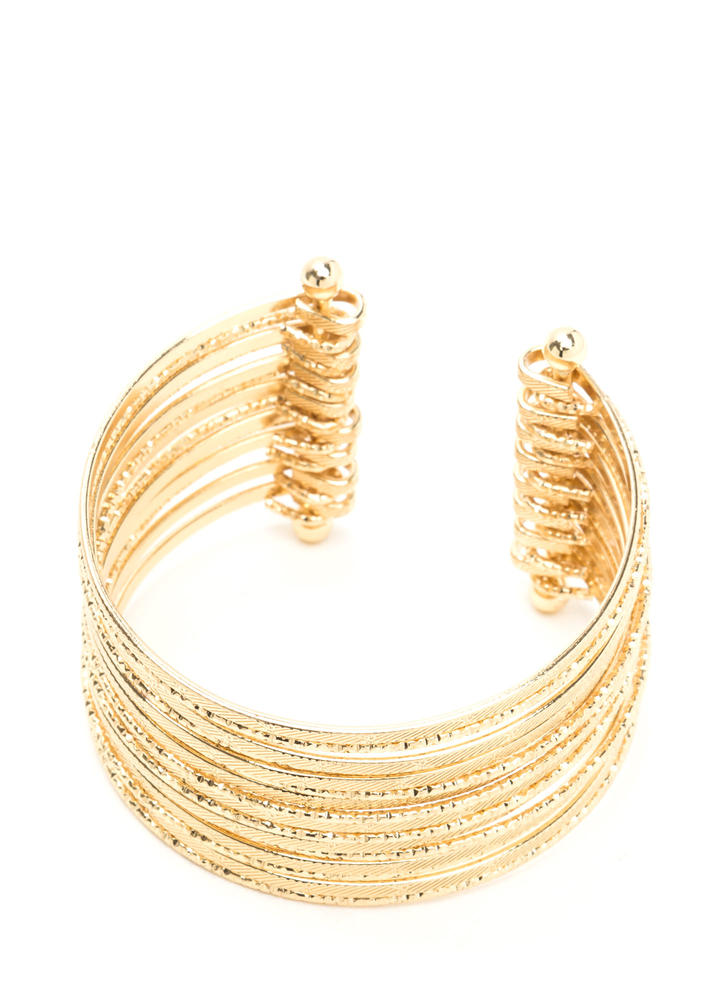 She's Stacked Textured Cuff Bracelet GOLD