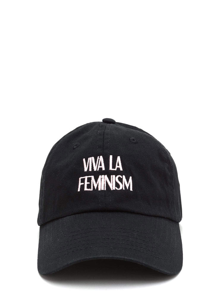 Viva La Feminism Graphic Baseball Cap BLACK