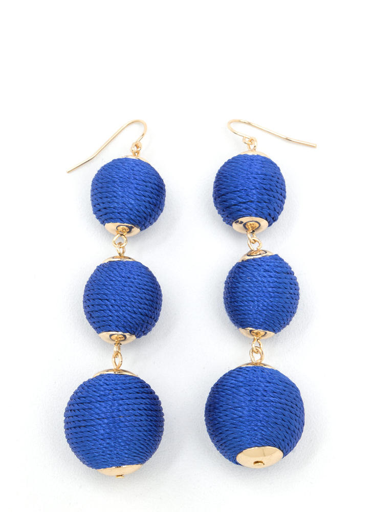 Wrapped Around Ball Earrings BLUE