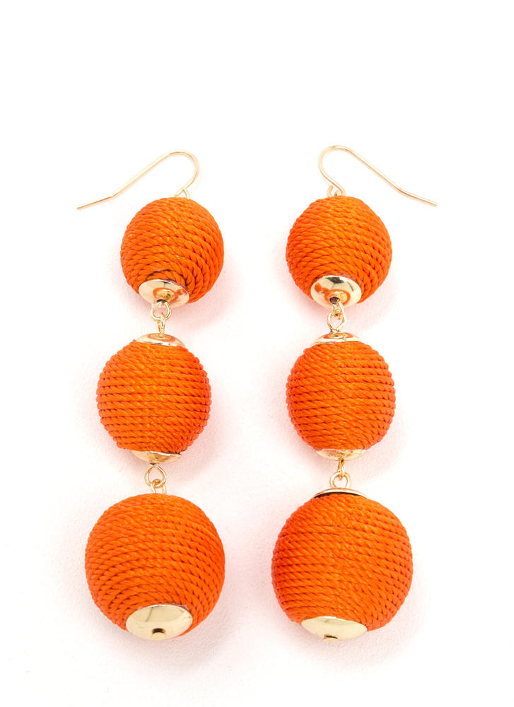 Wrapped Around Ball Earrings ORANGE