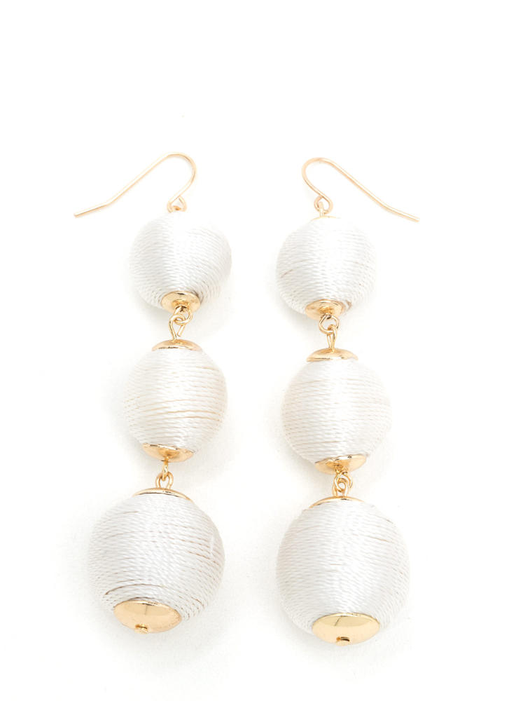 Wrapped Around Ball Earrings WHITE
