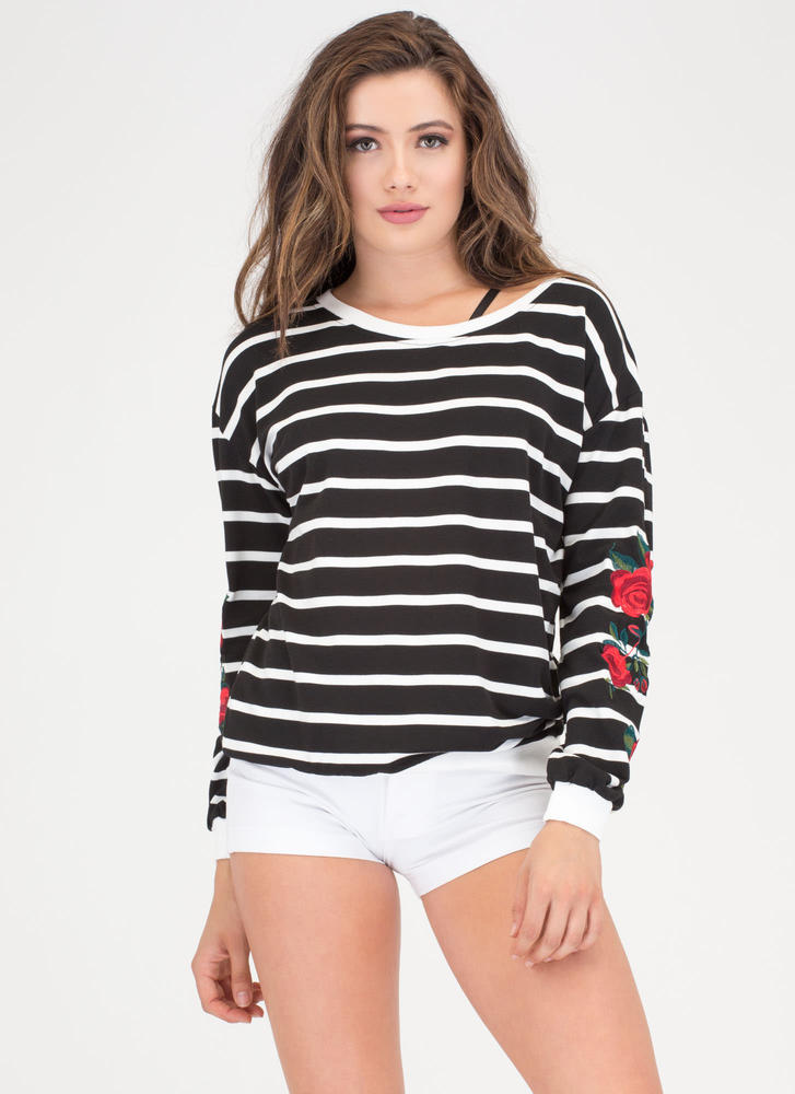 Wear Your Flowers Striped Sweatshirt BLACKWHITE
