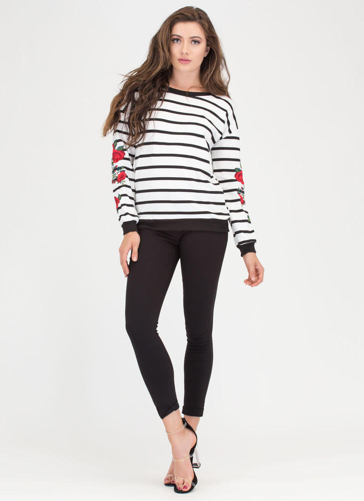 Wear Your Flowers Striped Sweatshirt WHITEBLACK