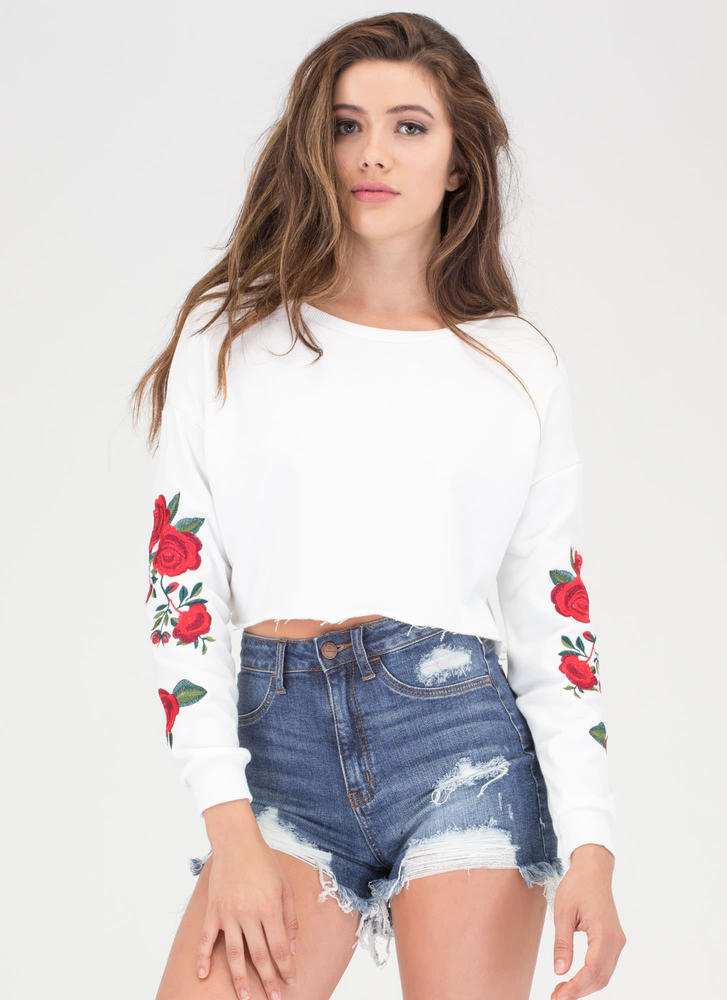 Floral Dosage Cropped Sweatshirt WHITE