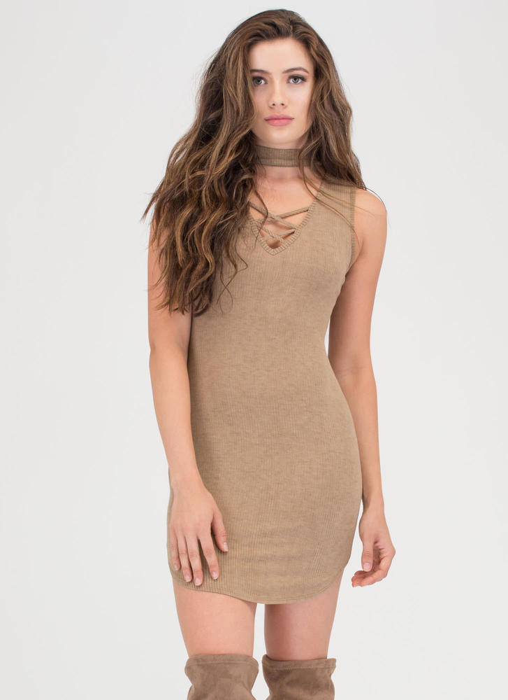 Double Cross Me Rib Knit Dress