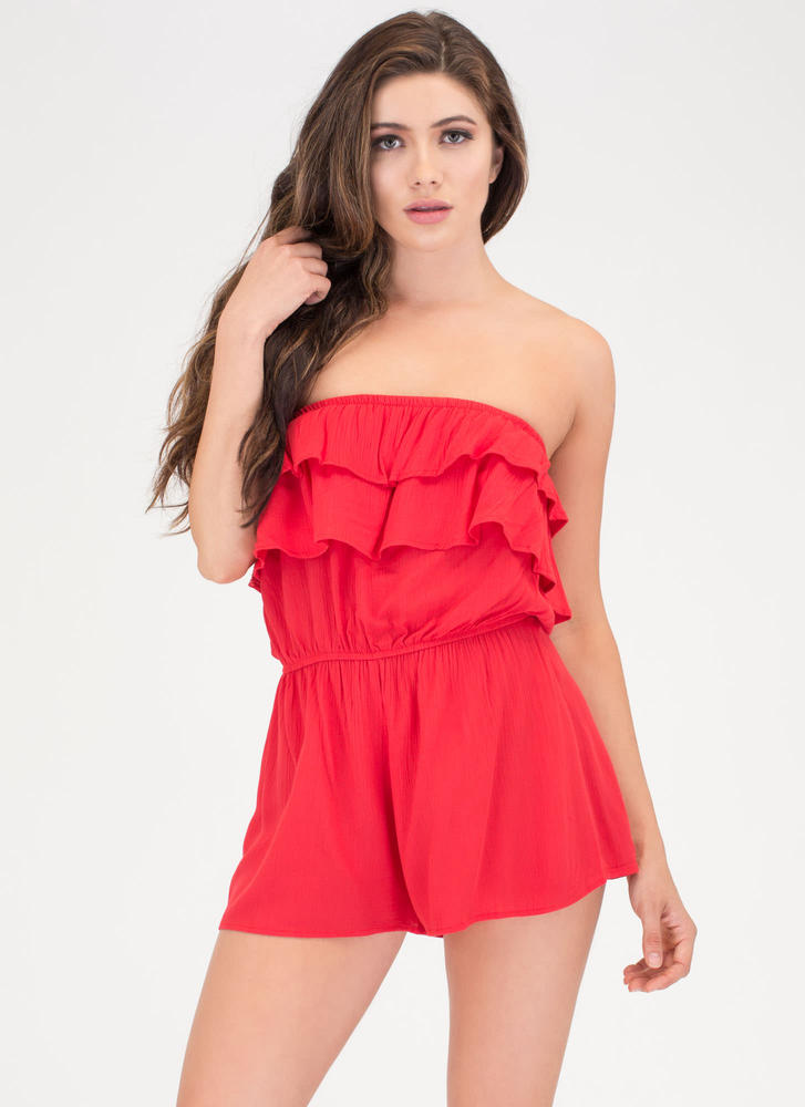 Ruffled Edges Strapless Romper