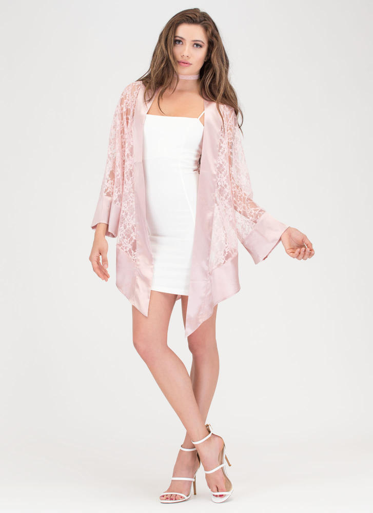 Fair Weather Satiny Lace Kimono MAUVE