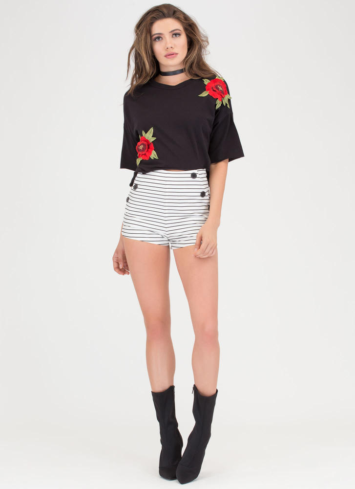 Get Flowers Embroidered Crop Top BLACK