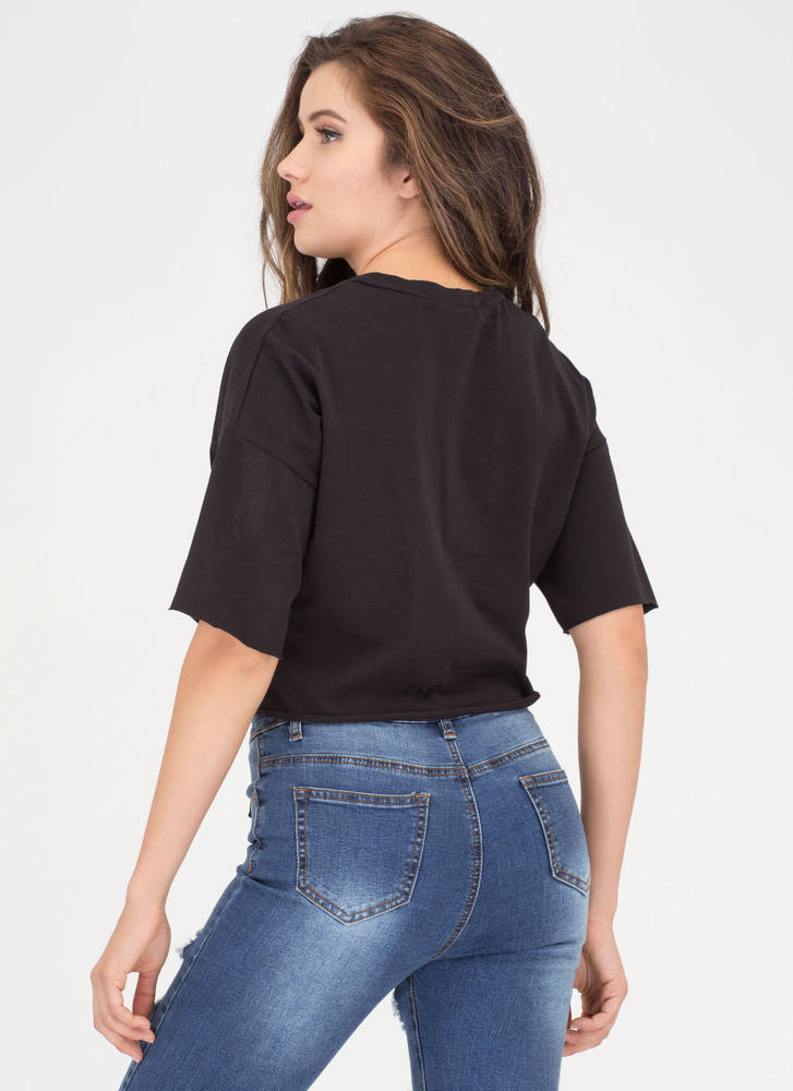 Yes Of Corset Lace-Up Crop Top BLACK