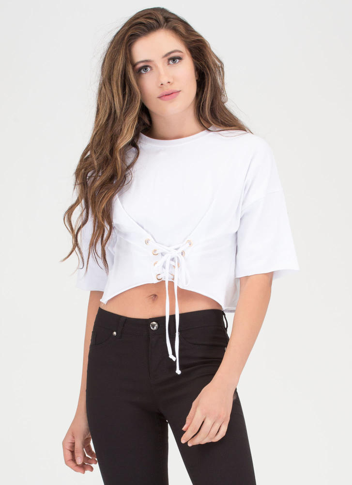 Yes Of Corset Lace-Up Crop Top