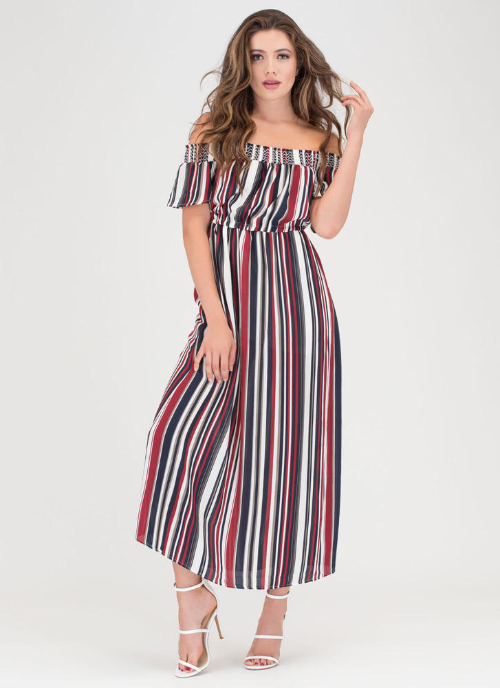 Stripe It Lucky Off-Shoulder Maxi Dress