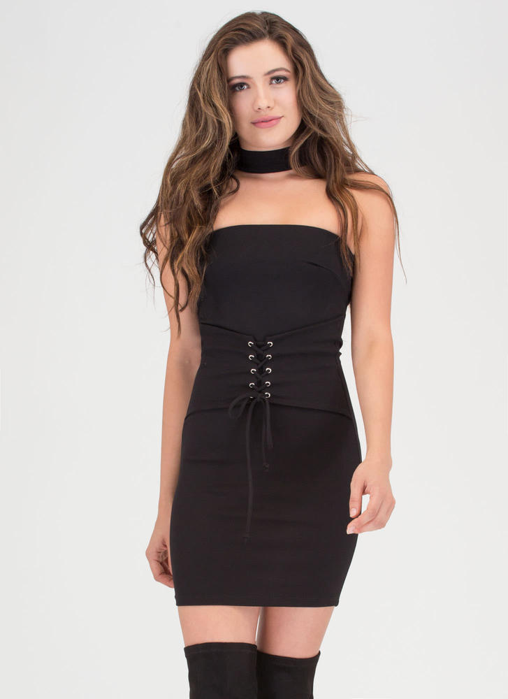 Of Corset Lace-Up Choker Dress BLACK