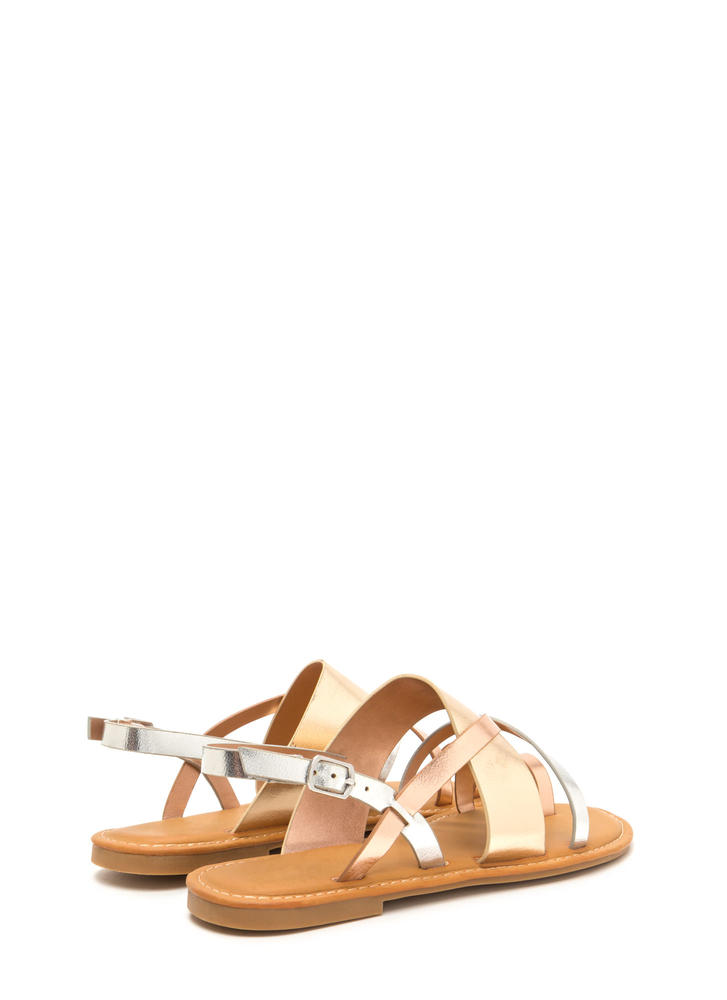 Cross Paths Strappy Metallic Sandals MULTI
