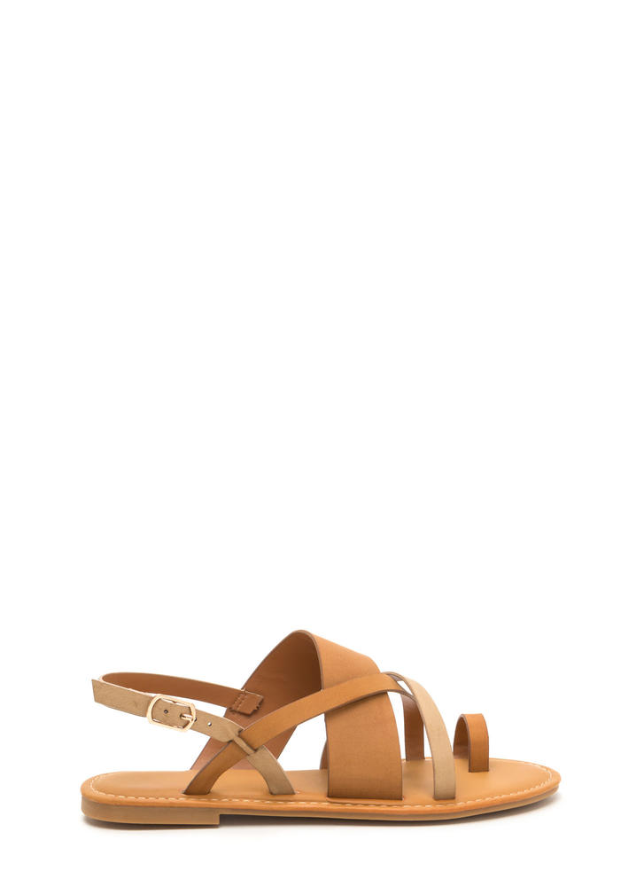 Cross Paths Strappy Faux Leather Sandals