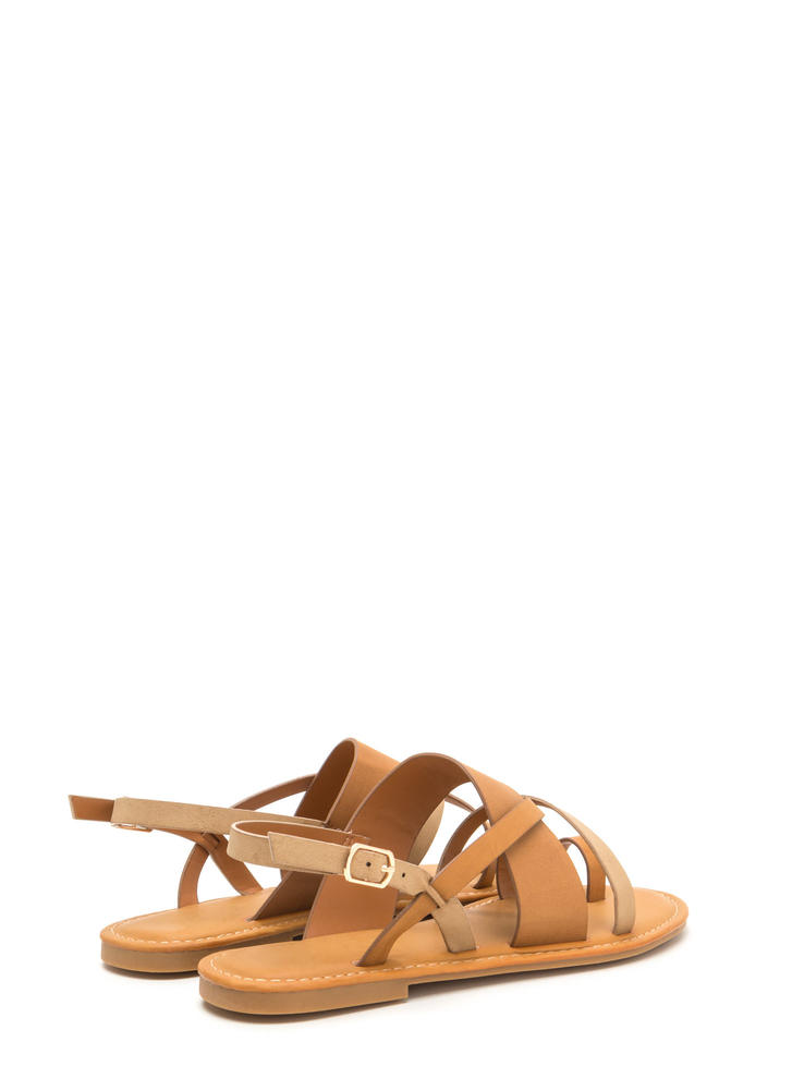 Cross Paths Strappy Faux Leather Sandals NATURAL