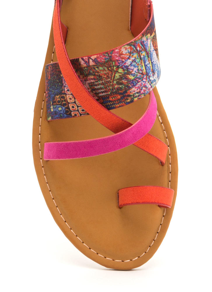 Cross Paths Strappy Abstract Sandals ORANGEMULT