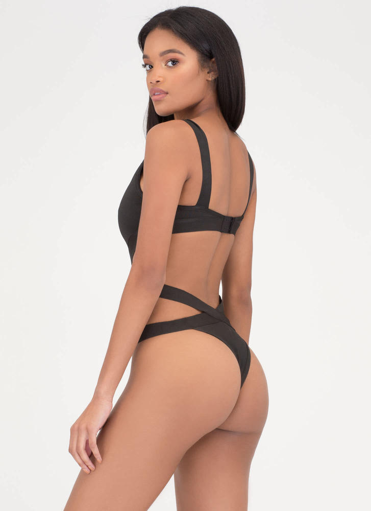 Bandage Me Up Mesh Inset Swimsuit BLACK