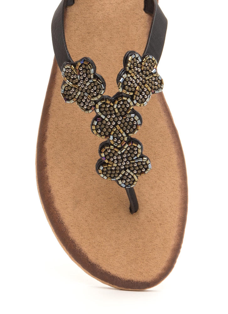 Bead Me Floral Thong Sandals BLACK
