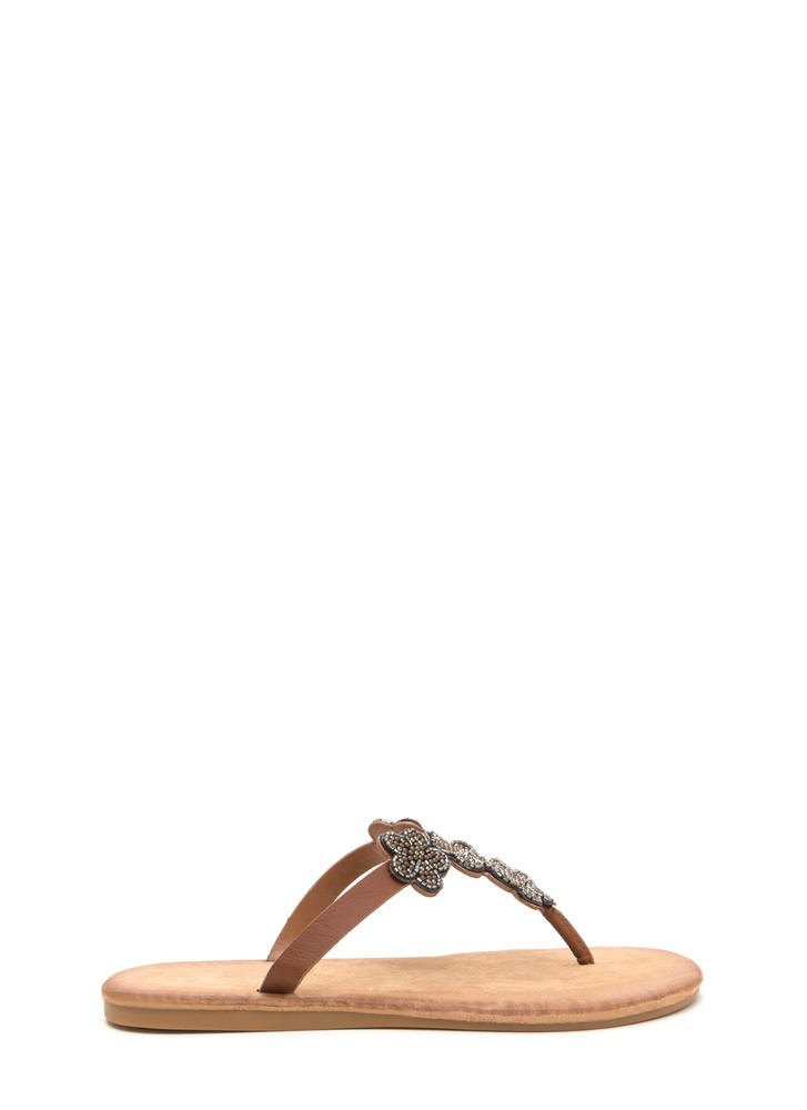 Bead Me Floral Thong Sandals TAN