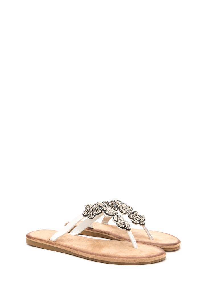 Bead Me Floral Thong Sandals WHITE