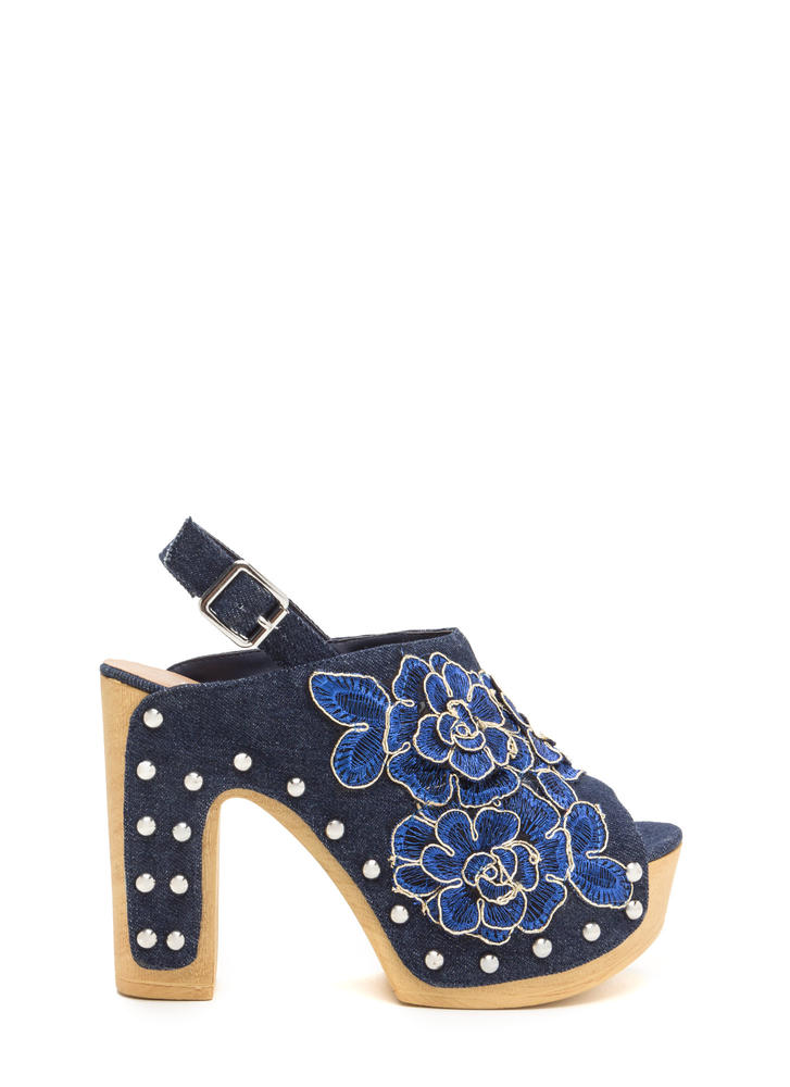 70s Bouquet Chunky Denim Heels
