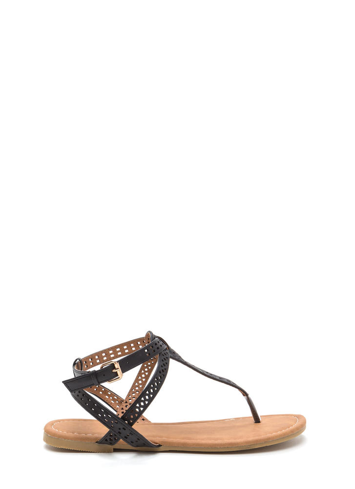 Style Squad Perforated Sandals BLACK