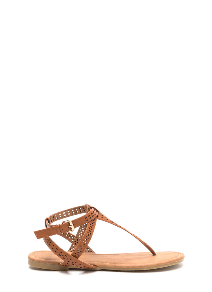 Style Squad Perforated Sandals COGNAC