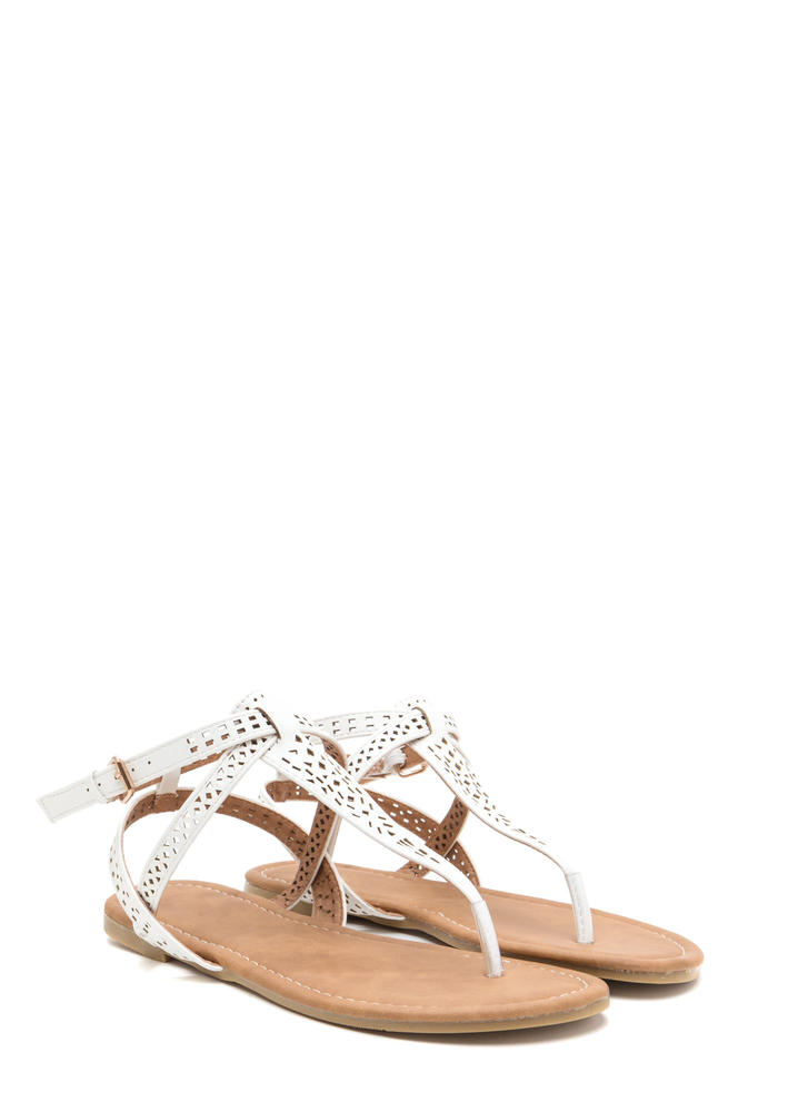 Style Squad Perforated Sandals WHITE