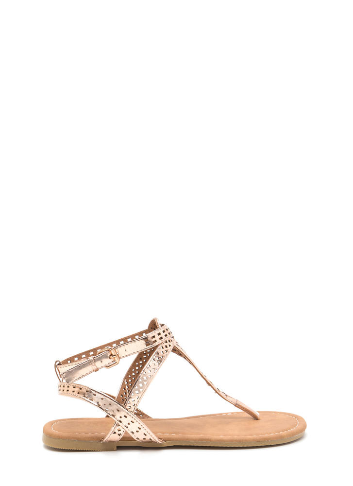 Style Squad Perforated Metallic Sandals